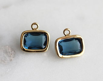 A2-057-G-MO] Montana / 9 X 7mm / Gold plated / Rectangle Glass Pendant / 2 pieces