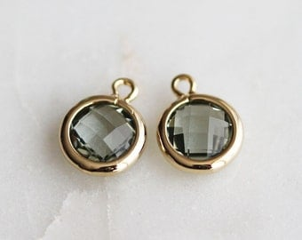 A2-125-G-CC] Charcoal / 7mm / Gold plated / Round Glass Pendant / 2 piece(s)