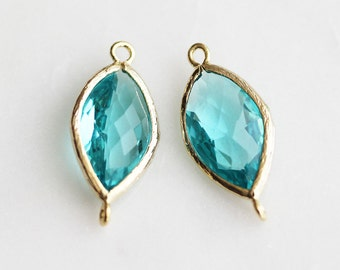 A2-152-G-BZ] Blue Zircon / 10 x 22mm / Gold plated / Pendant Connector /  2 pieces