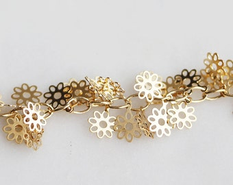B5-84-G] Gold plated / 6.6mm / Daisy Flower Charm Chain / 50cm