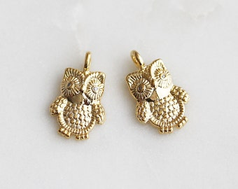P0-651-G] Owl / 10 x 16mm / Gold plated / Pendant / 2 piece(s)
