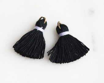 T9-006-BKL] Black and Lilac / 22mm / Cotton Tassel / 4 piece(s)