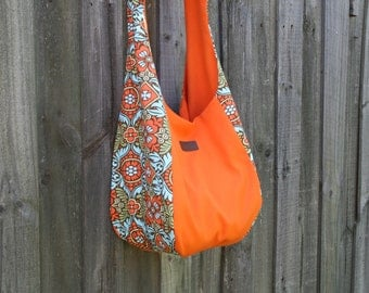 Hobo Slouch Bag, Cotton/ cotton duck fabric, Orange on orange/brown pattern, One Size