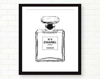 Chanel Bottle Print, Chanel no 5, Fashion Art Print, Black And White, Modern, Perfume Art Print, Vanity Decor, Girly, French Decor, Paris