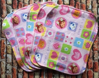 Strawberry Shortcake Flannel Cloth Wipes, Reusable Wipes