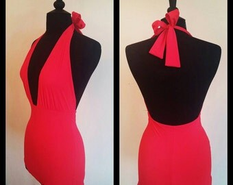 Handmade Red pinup 50's Style Swimsuit.
