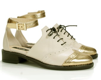 Reyna Ivory&Golden Leather Oxford Shoes
