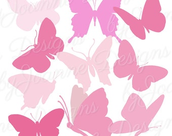 Butterfly Clipart, Pink Butterfly Clipart Silhouettes - Digital download, 10 Butterflies, Scrapbooking, Card Making -Personal/Commercial Use