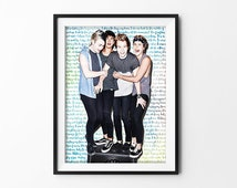 """5 Seconds Of Summer Poster Typography Watercolor """"Long Way Home"""" Lyrics"""