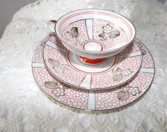 Vintage Bavaria tea cup, saucer and plate trio.