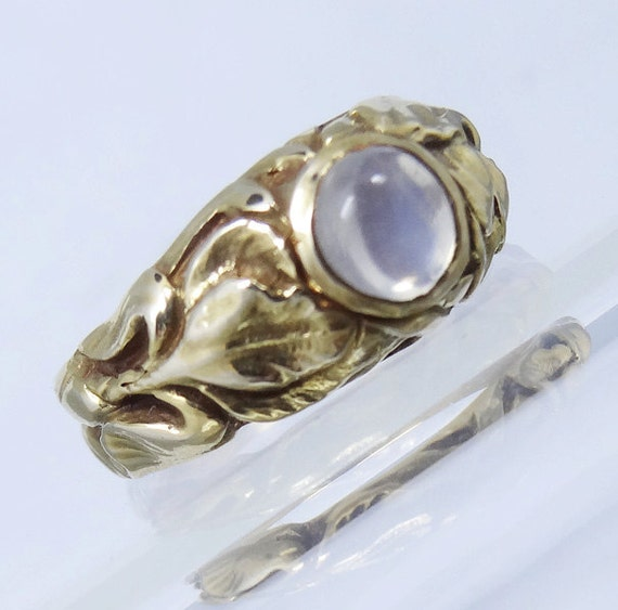 antique nouveau ring moonstone 14k gold by bestoldjewelry