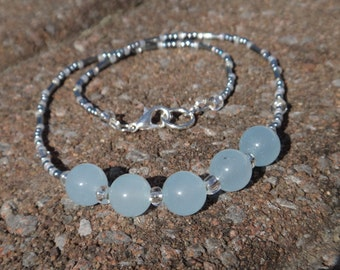 Aquamarine necklace . Birthstone Mars. Natural stones necklace. Beaded necklace pale blue and silver . Aquamarine. Soothing property