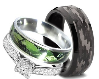 camo wedding ring set for him and her titanium by