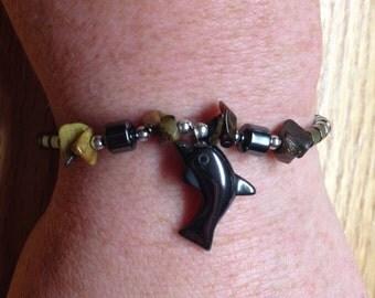 Vintage Black Beaded and Dolphin Beaded Design Bracelet, 7.5'' Long