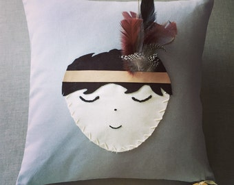 Handmade Little indian boy cushion or wall hanging X