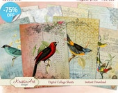 75% OFF SALE Summer birds - Digital Collage Sheet Digital cards C049 ATC Cards Printable download tags digital image paper craft scrapbook