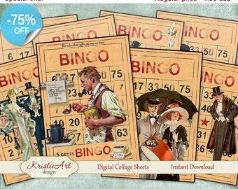 75% OFF SALE Digital Collage Sheet - Bingo, Vintage Cards, Printable Download, Digital Collage, Altered Art, Ephemera Atc, Aceo size, Men