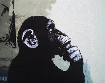 BANKSY Canvas The Thinker Monkey Banksy Graffiti Wall Art Print Gallery Wrapped