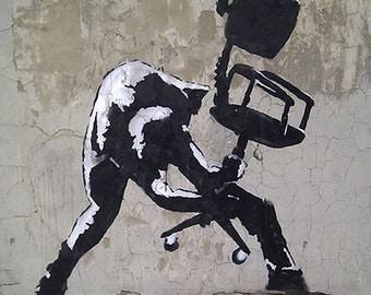 BANKSY Canvas London Calling The Clash Office Chair Smash Banksy Graffiti Art Print Gallery Wrapped