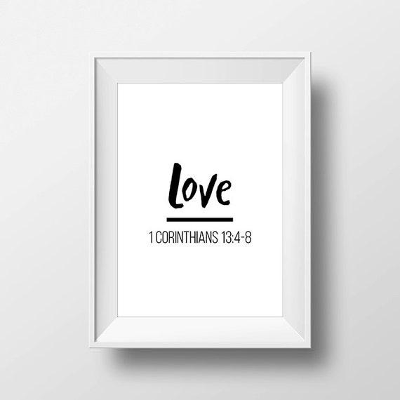 Love 1 Corinthians 13:4-8 Printable Poster Downloadable