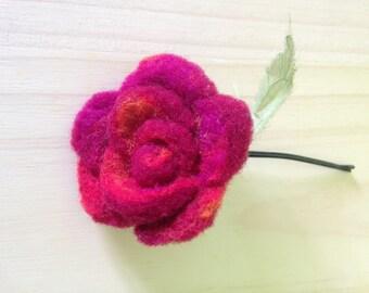 Needle felted flower/ hair accesories/felt flower clip/ felt flower pin/ felt rose/flower hair