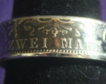 German Zwei Mark Coin Ring
