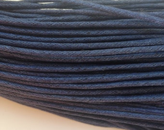 Navy Blue Waxed Cotton Cord 2mm width wide bracelet necklace Dark Prussian Blue Choose your length in metres meters 1m 2m 3m 5m or 10m