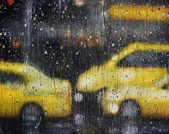 New york rain original oil painting