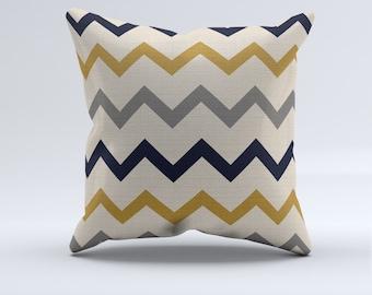 Mustard, gray and blue chevron throw pillow, throw pillows, modern pillows, chevron, home decor, bedroom pillows, couch pillows