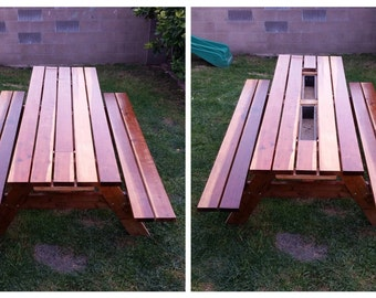 Redwood Picnic Table w/ removable plank