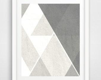 Printable Art, Geometric Print, Grey Triangle print, Scandinavian Art, Home Decor, Wall Decor, Instant Download