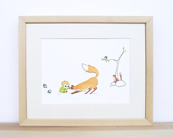 Spring - Baby nursery art - watercolour print - kid and forest animals