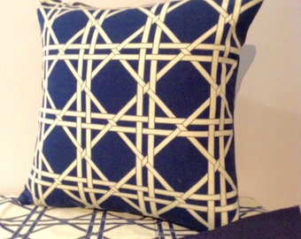 Navy Blue Rope Lattice 14x14 Decorative Throw Pillow Cover, Pillow Sham, Pillow Case, Nautical Design Classic