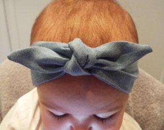 Light blue denim headband head band hair wrap scarf bandana head wrap knot bow baby, toddler or girls