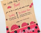 LADYBUG party  invitation, Lady Bug, printable,  party printables, Burlap Background Digital design PDF download.