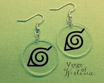 Naruto Leaf Village Earrings-- Dangle Earrings Naruto Earrings Leaf Village Symbol Konoho Symbol Naruto Jewelry Village Hidden in the Leaves