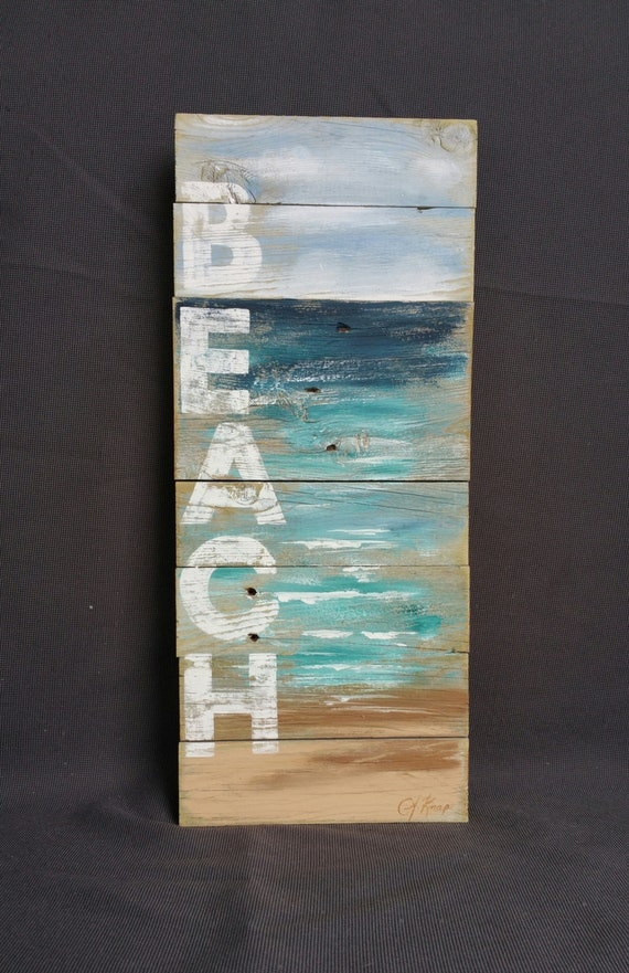 Distressed Reclaimed Wood Pallet Wall Art Hand Painted Sign Seascape