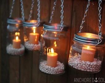 Mason Jar Lanterns Hanging Tea Light Luminaries - Set of 4 - Silver Chain - Regular Mouth Mason Jar Style