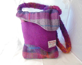 Harris Tweed Shoulder Bag with Hand Woven Strap