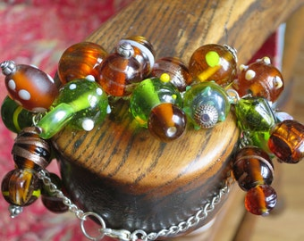 Forest Green and Brown Lampwork Bracelet Made By Me.