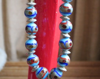 Unusual Turquoise Lampwork Bead Necklace with Silver Metal Spacers