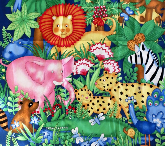 Jungle fabric baby quilt panel safari screened print for Childrens jungle print fabric