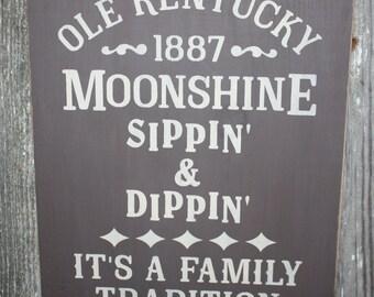 Rustic Olde Kentucky Moonshine Wood Sign