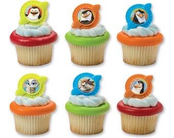 Penguins of Madagascar Secret Agent Cupcake Rings Cake Decorations