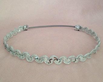 Boho chic silver sequin headband