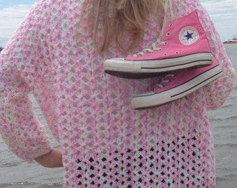 Pink oversized sweater - lacy sweater - crochet sweater - handmade woman sweater - peekaboo sweater - lightweight crochet sweater - cardigan