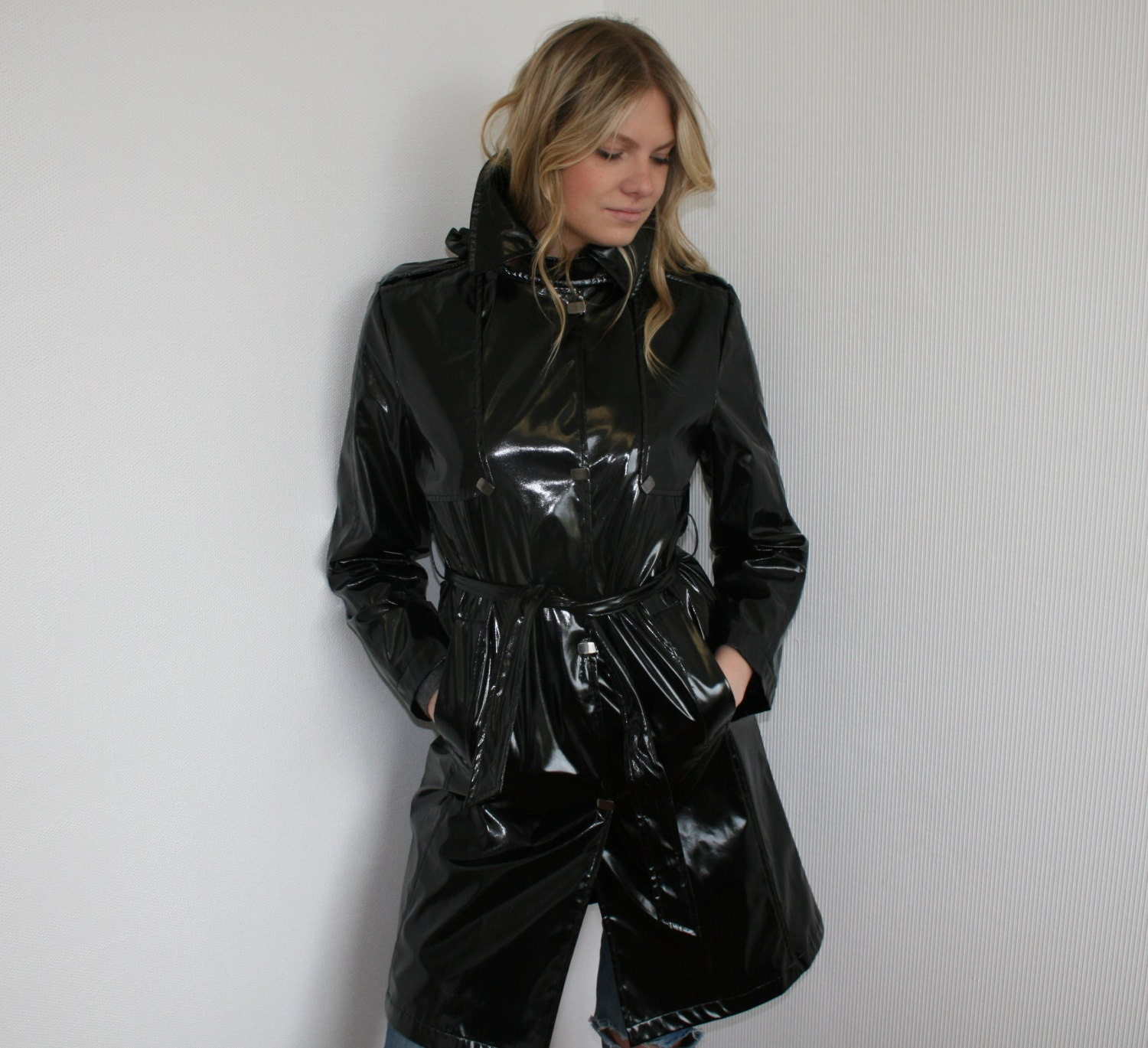Black Vintage Faux Patent Leather Black High Gloss Trench Coat