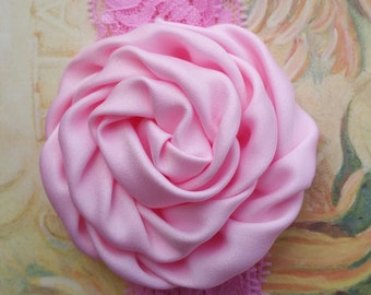 Pink Satin and Lace Rosette Flower Headband