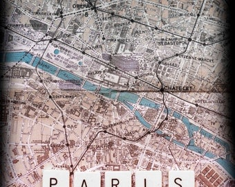 Paris, old map and scrabble