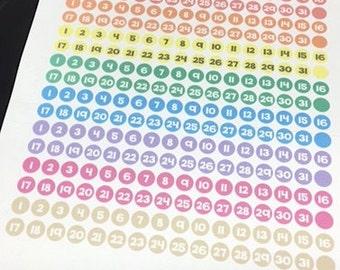 Pastel Date Dot Stickers    For Erin Condren Teacher Planners